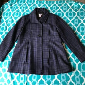 Motherhood Maternity Plaid Button Up Wool Coat